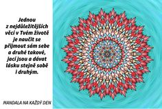 Mandala Přijmi se a dávej lásku Love Is All, Tapestry, Symbols, Words, Dating, Health, Tapestries, Icons, Horse