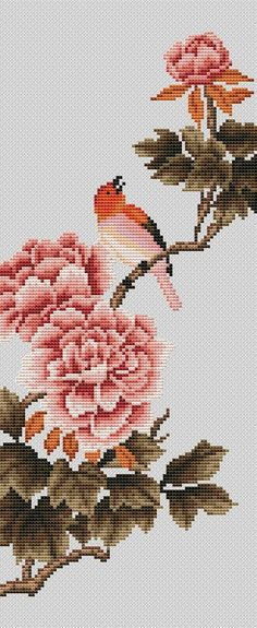 This Pin was discovered by Val Butterfly Cross Stitch, Cross Stitch Love, Cross Stitch Flowers, Cross Stitch Charts, Cross Stitch Designs, Cross Stitch Patterns, Bird Embroidery, Cross Stitch Embroidery, Crochet Slipper Pattern