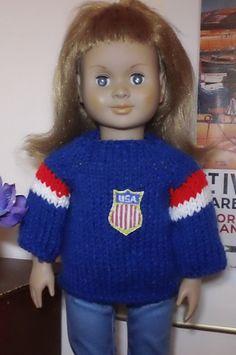 Aran Ravelry: Hockey sweater for AG doll pattern by Marjorie Stintzi