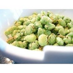 Crispy Edamame Recipe Great alternative to pop corn...Movie Snack! Crispy Edamame -1 (12 ounce) package frozen shelled edamame (green soybeans), 1 tbsp olive oil, 1/4 c grated parmesan cheese, salt & pepper to taste. 15 min. in a 400 oven