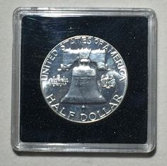 1961 Uncirculated Brilliant Proof Philadelphia Franklin Silver Half Dollar.