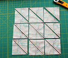 A Quilter's Table: Big Batch HSTs - 18 at a time! the basic formula is: size HST X = size of fabric squares Quilting Tips, Quilting Tutorials, Machine Quilting, Quilting Projects, Half Square Triangle Quilts, Square Quilt, 9 Square, Quilt Block Patterns, Quilt Blocks