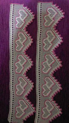Crochet For Beginners dantel-havlu-ornekleri-resimli Filet Crochet, Crochet Shrug Pattern, Crochet Dolls Free Patterns, Crochet Lace Edging, Crochet Flower Patterns, Crochet Patterns For Beginners, Crochet Chart, Love Crochet, Irish Crochet