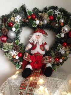 Veľký vianočný veniec srdce dedo mraz 60cm / anad333 - SAShE.sk - Handmade Dekorácie