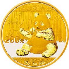 2017 China Panda Gold Bullion 15g (Around 0.48225oz), Diameter 27mm, Denomination 200Yuan, Mintage 600000.