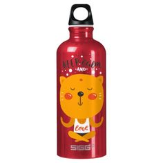 Yoga Cat Keep Calm And Love Aluminum Water Bottle - home gifts ideas decor special unique custom individual customized individualized