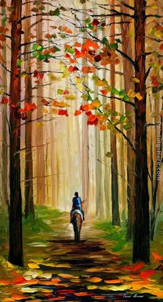 Autumn Stroll On A Horse Artwork By Leonid Afremov Oil Painting & Art Prints On Canvas For Sale Simple Oil Painting, Autumn Painting, Oil Painting On Canvas, Horse Paintings On Canvas, Easy Landscape Paintings, Horse Artwork, Oil Painting Reproductions, Leonid Afremov Paintings, Oil Paintings