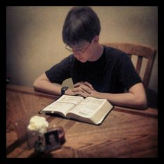 Day Two - Return     Obediently I train my children in the way they should go...in return I receive the blessing of watching my children develop spiritually into the beings God created them to be...(my son Jordon reading his bible)