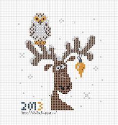 олень с совой , простая и удобная цветная схема для вышивки крестом, подборка новогодних схем, вышивка к новому году, олень, олени