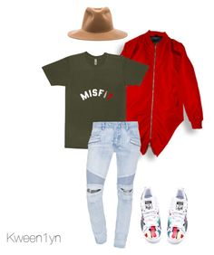 """""""Boyfriend's Swag better than Yours"""" by kween1yn ❤ liked on Polyvore featuring Balmain, adidas and Clyde"""