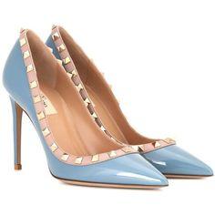Valentino Valentino Garavani Rockstud Patent Leather Pumps (50.075 RUB) ❤ liked on Polyvore featuring shoes, pumps, heels, blue, blue pumps, blue patent leather pumps, patent shoes, heel pump and blue heeled shoes