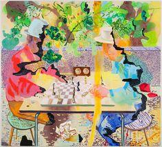 Dana Schutz - non-linear painting, line, silhouette, pattern, (stylized shape)