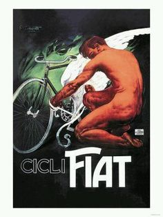 Every transportation enthusiast will love the colorful vintage style of Global Gallery Cicli Fiat (Fiat Cycles) Wall Art. This piece depicts illustrative advertising of an antique bicycle. Vintage Advertising Posters, Vintage Advertisements, Vintage Ads, Vintage Posters, Vintage Graphic, Vintage Italian, Velo Retro, Retro Bike, Vintage Magazine