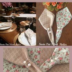 Guardanapos em tecidos nacionais e importados 100% algodão e Portas guardanapos aro pérola Santa Pati Work Atelier!  Um charme a mais na sua mesa!