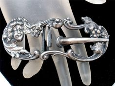 Art Nouveau Repousse Lady Sterling Silver Buckle Sash Ornament Antique Jewelry #Unbranded