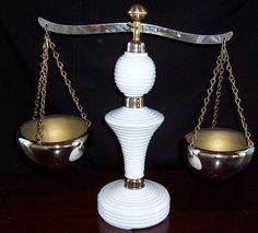 Milk Glass Scale of Justice Vintage by SierrasTreasure on Etsy, $43.00