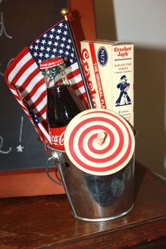 A small gift basket for the 4th of July. Maybe could do small sparklers instead of the pinwheel! Love it!