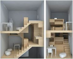 Crazy, tiny built in design for a Parisian apartment by H2O Architects.