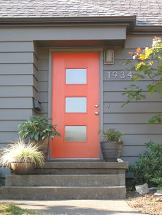 Fabulous Modern Front Door Colors and Best 20 Modern Front Door Ideas On Home Design Modern Entry Door Coral Front Doors, Front Doors With Windows, Front Door Colors, Front Door Decor, Coral Door, Door With Window, Diy Windows, Red Doors, White Doors