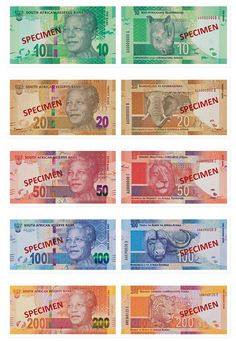 """New South African Banknotes (2012) - Each banknote features an image of South Africa's first democratically elected president Nelson Mandela aka """"Madiba"""" on the front. On the back of the South African Rand the notes kept the """"Big Five"""" animal images that appear on the current notes."""