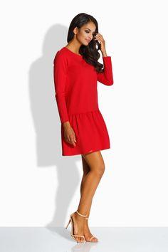 5c03387745f Robe rouge droite courte evasee femme manches longues LEMONIADE L218