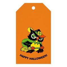 Funny Owl Halloween Custom Gift Tags - kids kid child gift idea diy personalize design