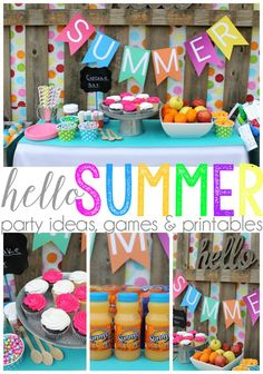 Hello summer party ideas, games and print templates - Party Time . - Hello summer party ideas, games and print templates – Party time – - Summer Party Themes, Summer Party Decorations, Summer Parties, Birthday Party Decorations, Party Ideas, Summer Bash, Summer Fun, Birthday Party Meals, Summer Birthday