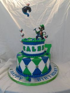 Luigi's Mansion - Buttercream iced. Fondant decorations. Images are all edible from my edible printer.
