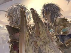 Aioros de Sagitario y Saga de Géminis. Saint Seiya: Legend of Sanctuary.