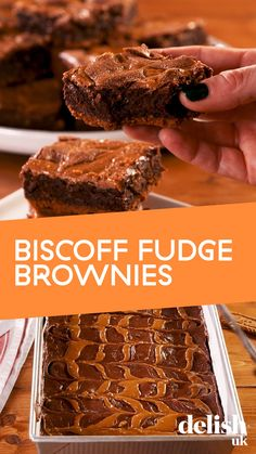We've taken our best ever chocolate fudge brownie recipe and given it a Lotus Biscoff biscuit base (also known as speculoos) and a Biscoff spread swirl. Perfect for bake sales, weekend baki Biscoff Recipes, Brownie Recipes, Baking Recipes, Dessert Recipes, Speculoos Recipe, Tray Bake Recipes, Oreo Desserts, Nutella Recipes, Ultimate Chocolate Brownie Recipe