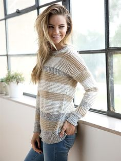 Oh-so cozy, this neutral striped sweater is perfect for a casual night out or a comfy night in!