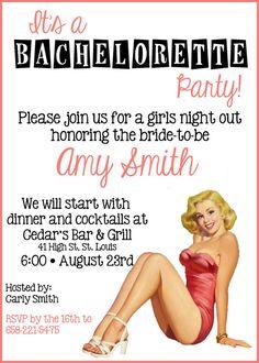 Retro Pin Up Bachelorette Party Invitation 5x7 Digital File via Etsy