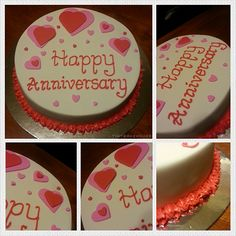 Anniversary Cake - Mud chocolate with ganache cake. It is covered with pink and red hearts, the writing and bottom of the cake piped with red royal icing.