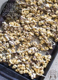 Zebra Caramel Popcorn – Like Mother Like Daughter Zebra Caramel Popcorn – a delicious homemade crunchy caramel popcorn drizzled with white and milk chocolate for the perfect snack or treat! Gourmet Popcorn, Popcorn Snacks, Flavored Popcorn, Popcorn Recipes, Snack Recipes, Moose Munch Popcorn Recipe, Candy Popcorn, Butter Popcorn, Party Snacks
