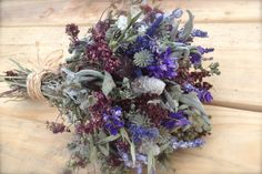 Dried flower bouquet in grey, lavender, sage, and chocolate.  Special reserved listing for Rachel.