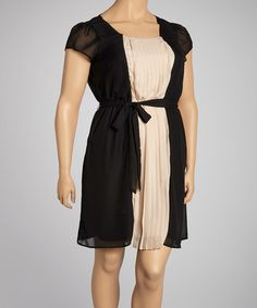 Take a look at this Black & Cream Pleated Dress - Plus by Paperdoll on #zulily today!  I love!