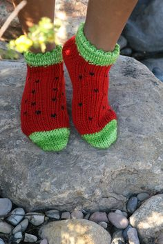 Loom Knit - Shorty Watermelon Socks done on AKB or sock loom.  From Knitting Board Chat.