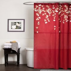 Lush Decor Flower Drop Shower Curtain, by Red: Flower drop shower curtain constructed with faux silk, detailed floral embroidery and flower applique. Sophisticated and elegant, the flower applique look like beautiful flowers dropping from the top. Elegant Shower Curtains, Red Shower Curtains, Drapery Panels, Panel Curtains, Lush, Flower Curtain, Shower Accessories, Drop, Bathroom Ideas