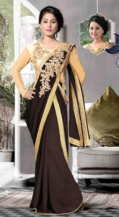 USD 51.33 Hina Khan Black Georgette Designer Gown 48117