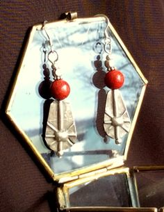 Free Shipping Red Coral Earrings with by LotusLakeBuddhist on Etsy, $28.00