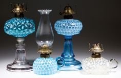 Over 30 good opalescent stand and finger lamps