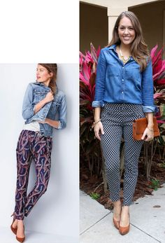 Inspiration for my new Stitch Fix pants: patterned, cropped pants with a chambray shirt and nude heels