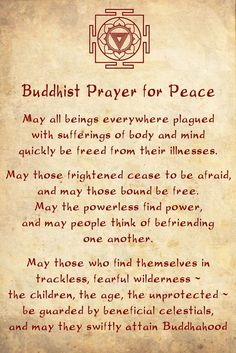 Buddhist prayer for Peace! something to remember...beautiful