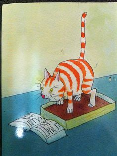 Funny cartoon of a cat reading while he's in the litterbox. Sent by a Postcrosser in Great Britain