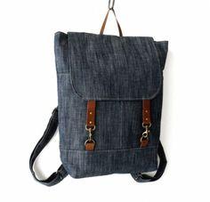 Unisex, Indigo Denim Backpack / Laptop bag / School bag / diaper bag / leather closure and front pocket, Unique Design of BagyBag Denim Backpack, Denim Bag, Backpack Purse, Laptop Backpack, Clutch Purse, Leather Backpack, Vintage Backpacks, Buy Bags, Little Bag