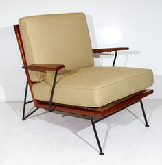 Pipsan Saarinen Swanson; Wood, Wrought Iron and Cord Armchair for Ficks-Reed, 1950s.