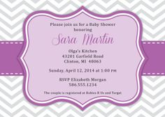 "Girl Baby Shower Invitation in Pantone Radiant Orchid with Gray Chevrons - 5""x7"" Digital Printable File by SaraPriceDesigns, $15.00"