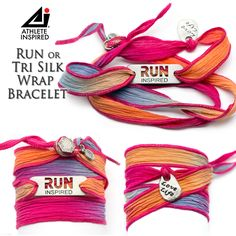 """This fun, Run Inspired or Tri Inspired beautiful silk wrap bracelet is approximately 26"""" in length. Silk is hand dyed with pink/orange/blue/purple blend. Features a """"Love Life"""" charm knotted onto the wrap along with a button clasp. Silk is slightly stretchy and can be wrapped around wrist several times."""