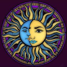 Mandala Art, Mandala Hippie, Mandala Tattoo Design, Hippie Art, Stars And Moon, Sun And Moon Mandala, Tableau Pop Art, Sun Art, Grateful Dead
