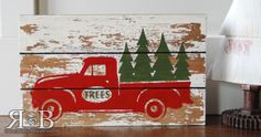 Vintage truck slat board, truck and trees, Christmas Craft ...